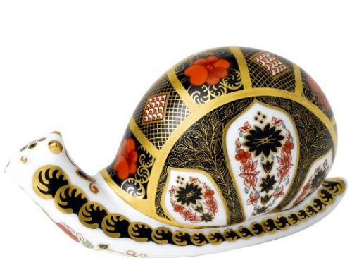 Royal Crown Derby old imari snail Paperweight